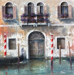 Titolo: Vecchia Facciata Veneziana by Paolo Fedeli - Original Painting on Stretched Canvas sized 20x20 inches. Available from Whitewall Galleries