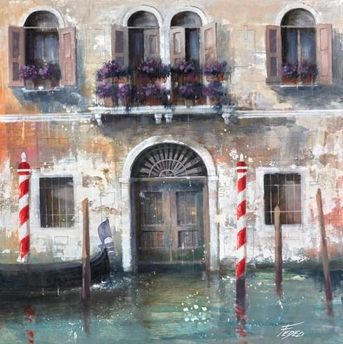 Titolo: Vecchia Facciata Veneziana by Paolo Fedeli - Original Painting on Stretched Canvas